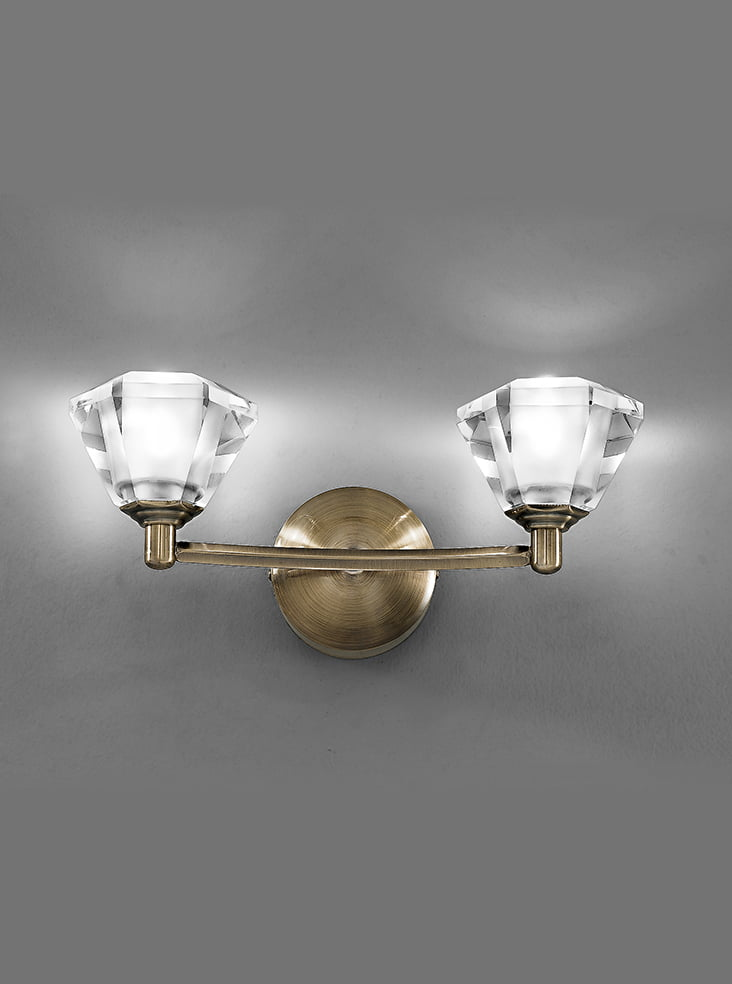 FL2163/2 Twista double wall light, bronze with crystal shades Lighting Bug Swindon