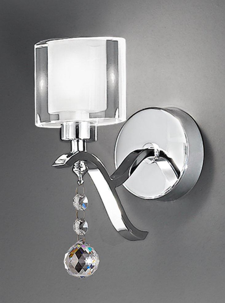 FL2164/1 Theory Single wall light, chrome with crystal drops & glasses Lighting Bug Swindon