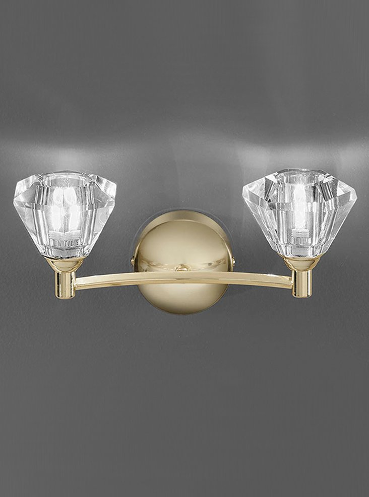 FL2230/2 Twista double wall light, brass with crystal shades Lighting Bug Swindon