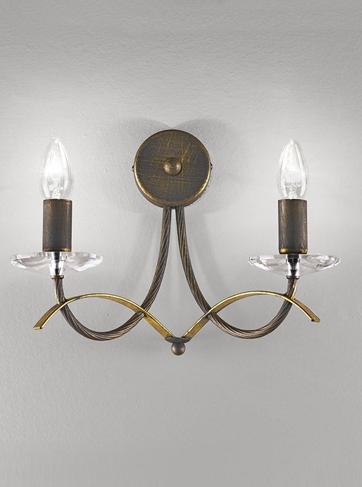 Vintage Wall Lights Double : FL2232/2 Fusion double wall light, antique finish & crystal Lighting Bug Swindon