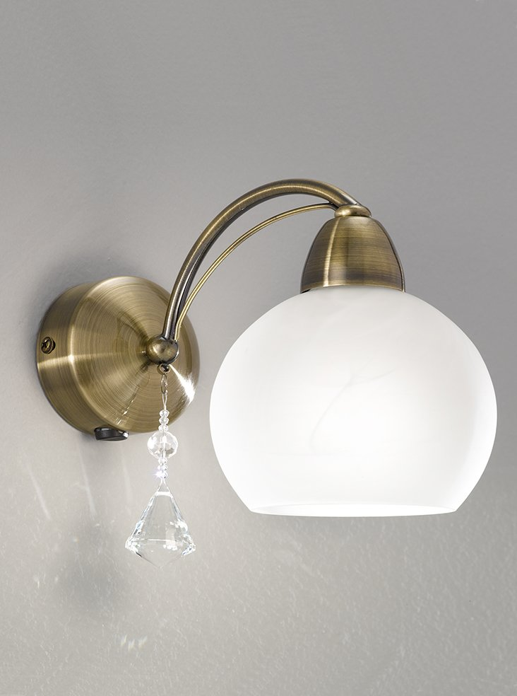 FL2278/1 Thea single wall light, bronze & alasbaster glasses Lighting Bug Swindon