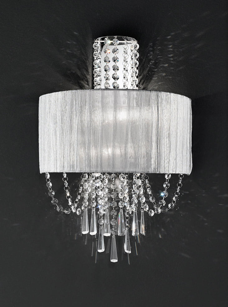 Wall Lights With Crystal : FL2303/2 Empress 2 light wall light, chrome & crystal with a fabric shade Lighting Bug Swindon