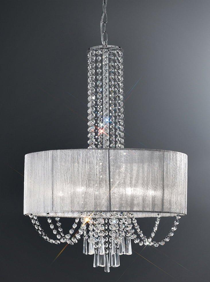 FL2304 6 Empress 6 Light Pendant Chrome Crystal With A Fabric Shade