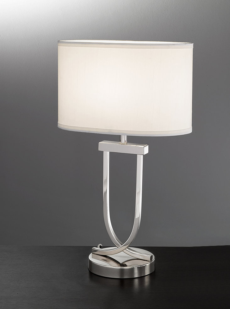 tl870 modern table lamp chrome off white shade lighting bug swindon. Black Bedroom Furniture Sets. Home Design Ideas