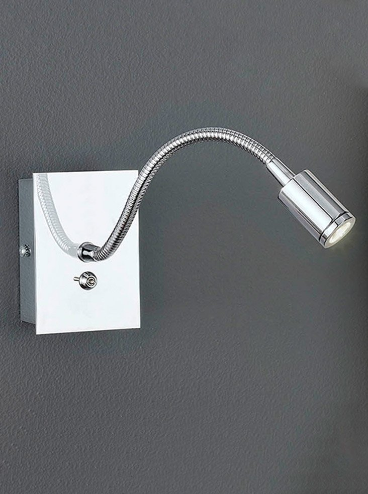 WB930 LED Flexible arm reading wall light, Chrome Lighting Bug Swindon