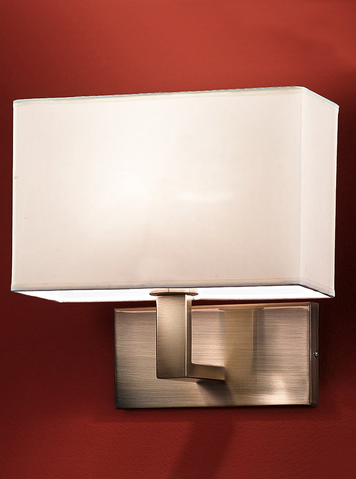 Rectangular Lamp Shades For Wall Lights : WB979/9892 Rectangle wall light, bronze & cream shade Lighting Bug Swindon