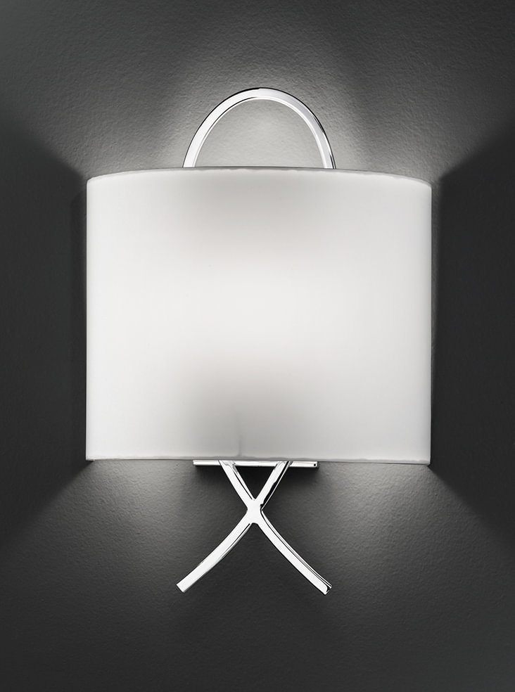 Modern Wall Lights Chrome : WB986 Modern wall light, chrome & off white shade Lighting Bug Swindon