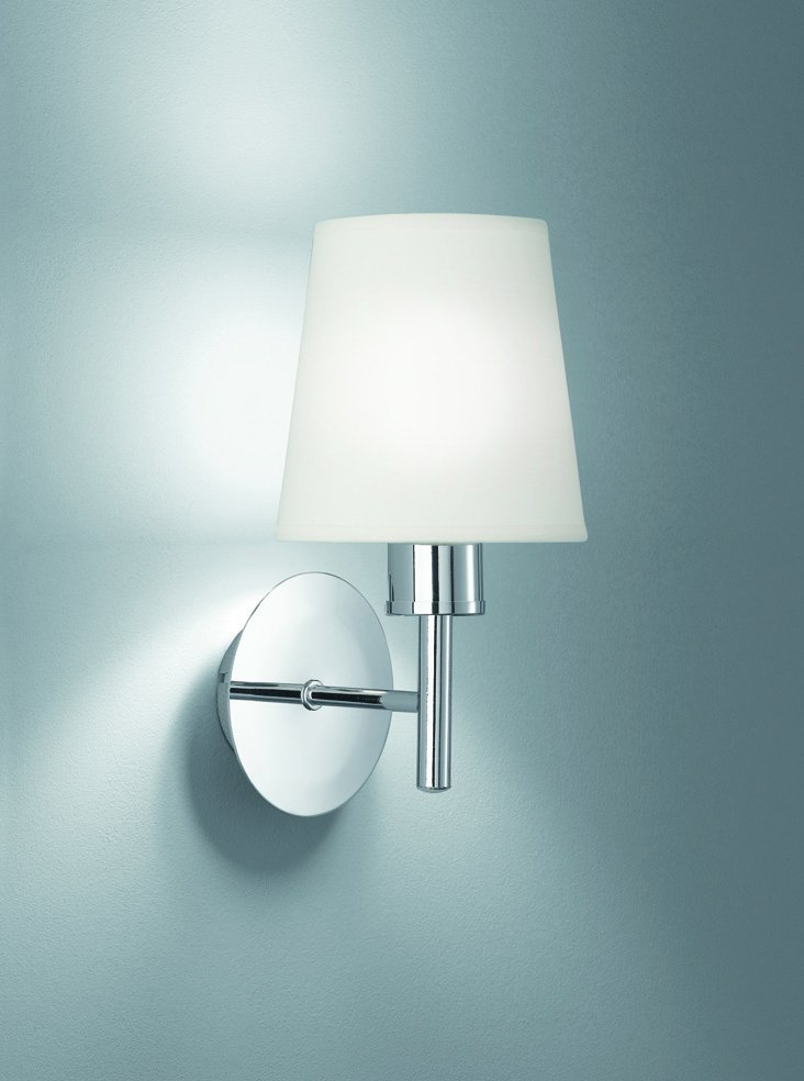 FL2126/1/1123 Zing Single Wall Light in Chrome with Cream Fabric Shades Lighting Bug Swindon