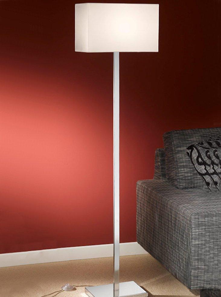 Sl154 9881 rectangle floor lamp chrome off white shade for Linear floor lamp with rectangular white shade