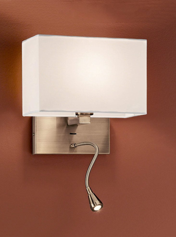 Rectangular Lamp Shades For Wall Lights : WB043/9892 Rectangle wall & LED reading light, bronze & cream shade Lighting Bug Swindon