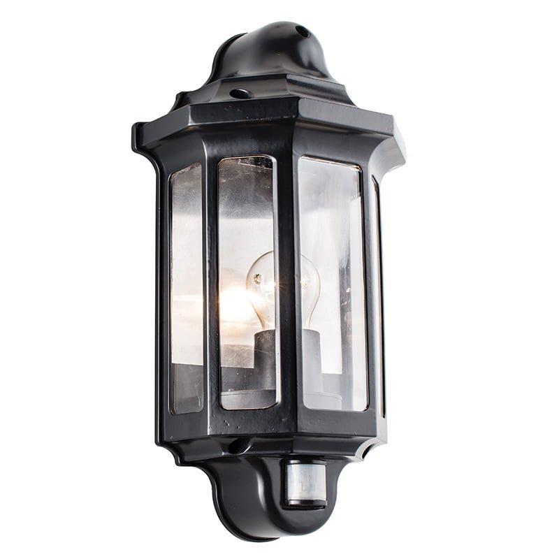 Lanark Outdoor Wall Light With Pir In Black : 1818PIR Traditional Outdoor Half Wall Lantern with PIR in Satin Black Lighting Bug Swindon