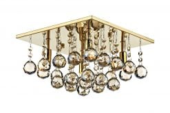 ABA5240 ABACUS, A MODERN 30CM SQUARE FLUSH FITTING, IN ANTIQUE GOLD.