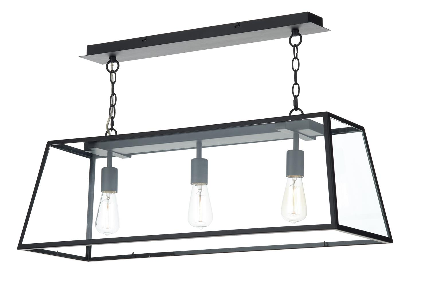 aca0322 academy 3 light box pendant in black lighting On suspension luminaire 3 ampoules