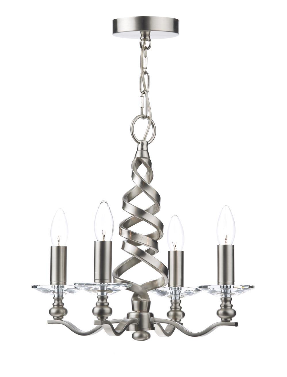 Dar ALA0446 Alassio 4 Light Pendant in Satin Chrome