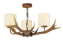 ANT0329 Antler 3 Light Pendant Chandelier with Cream Shades