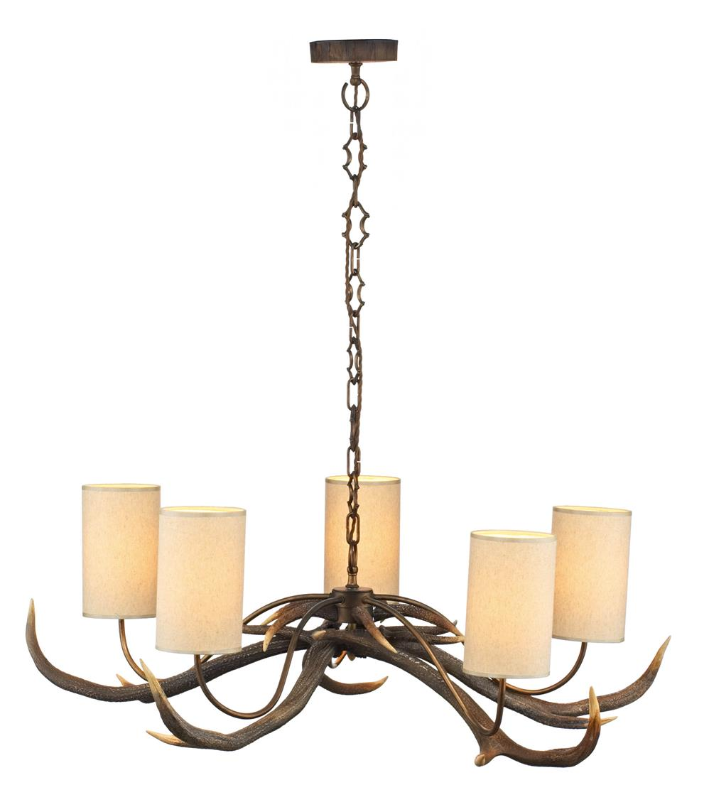 David Hunt Lighting ANT0529S Antler 5  Light Pendant Chandelier with Cream Shades