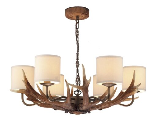 ANT0629 Antler 6  Light Pendant Chandelier with Cream Shades