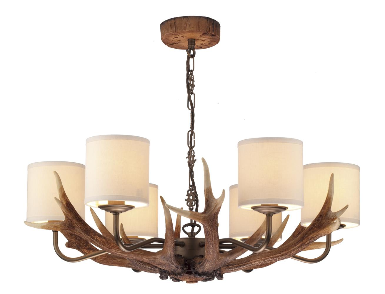 David Hunt Lighting ANT0629 Antler 6  Light Pendant Chandelier with Cream Shades