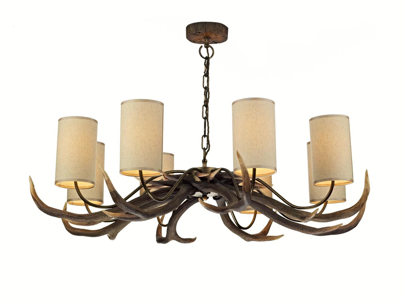 David Hunt Lighting ANT0829S Antler 8 Light Pendant Chandelier with Cream Shades