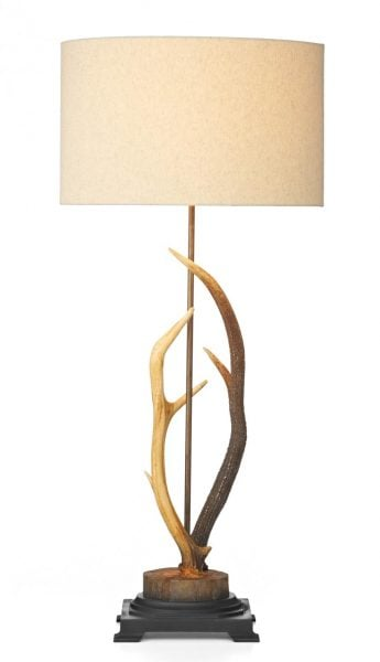 ANT4229 Antler Table Lamp complete with Cream Fabric Shade Shade