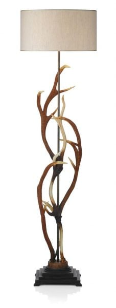 ANT4929 Antler Floor Lamp complete with Cream Fabric Shade Shade