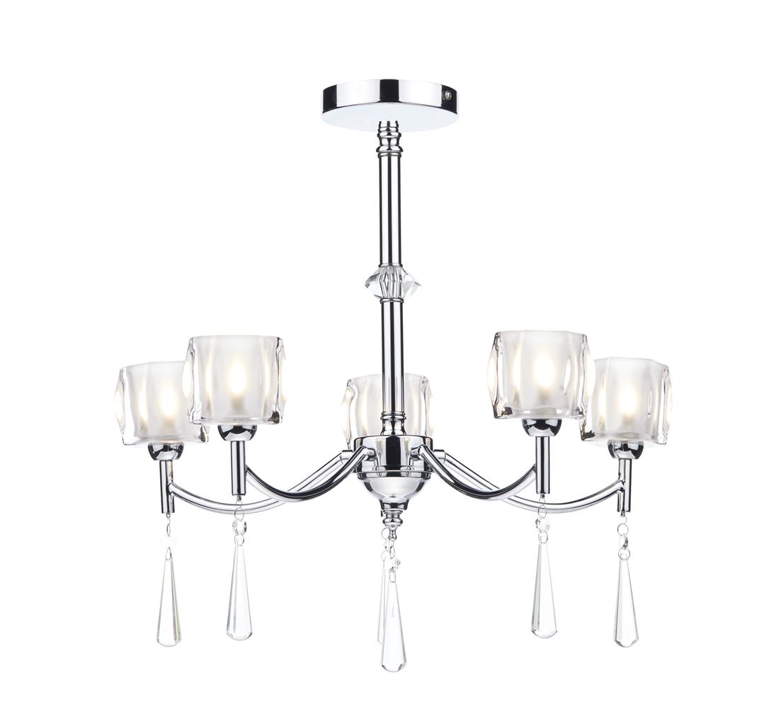Dar AUB0550 Auberge 5 light Pendant in Polished Chrome