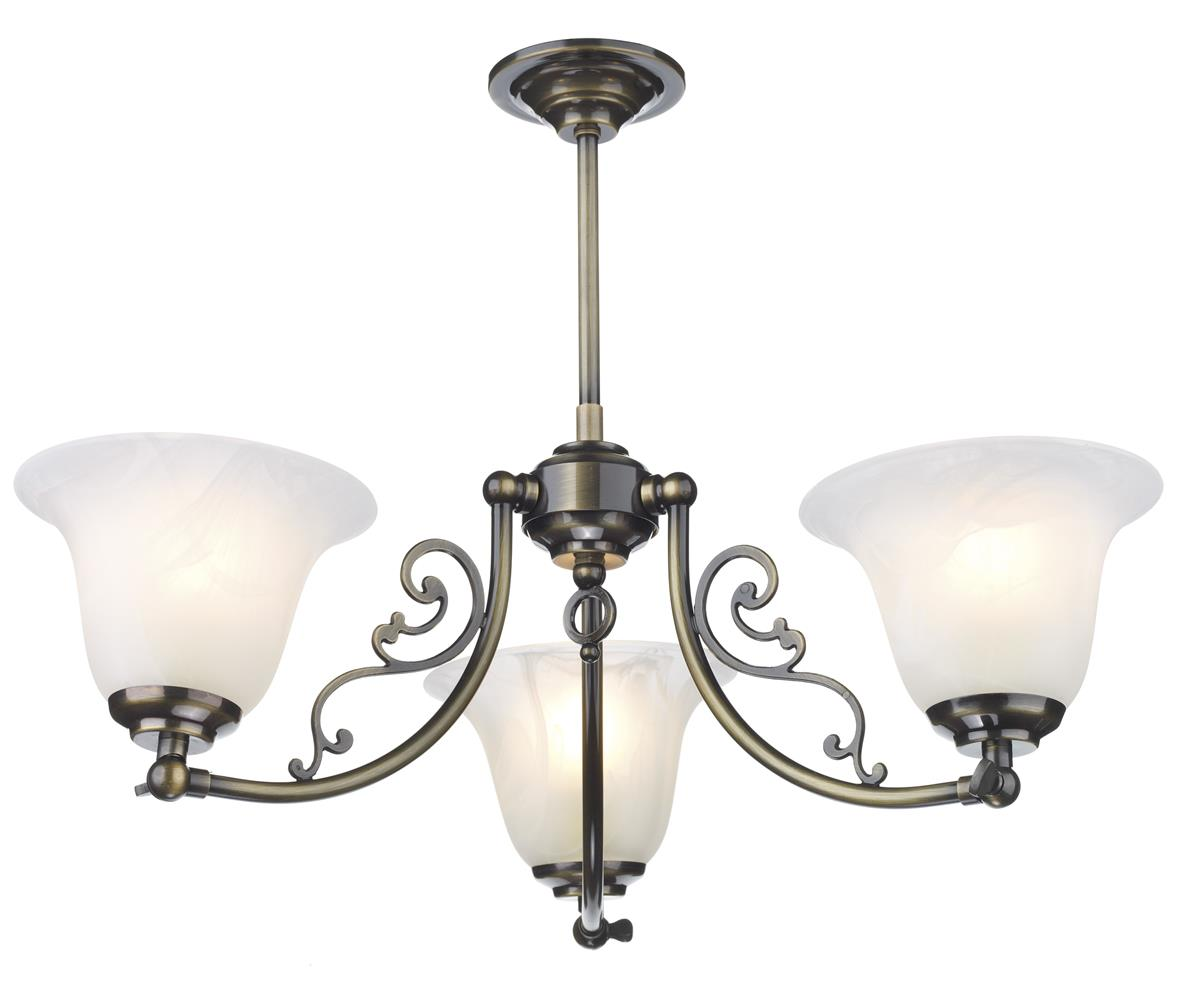 Dar CP30AB Campden 3 Light Semi Flush Pendant in Antique Brass Fitting Only