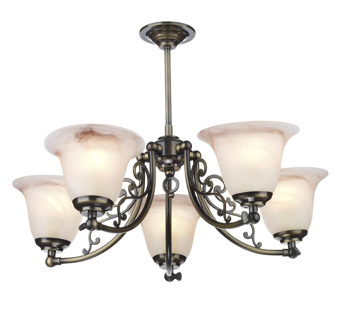 Dar CP50AB Campden 5 Light Semi Flush Pendant in Antique Brass Fitting Only