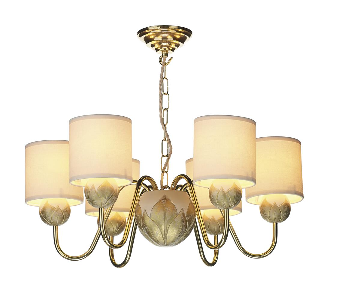 David Hunt Lighting DAH0612 Dahlia 6 Light Chandlier in Ivory &  Gold Inc Shades