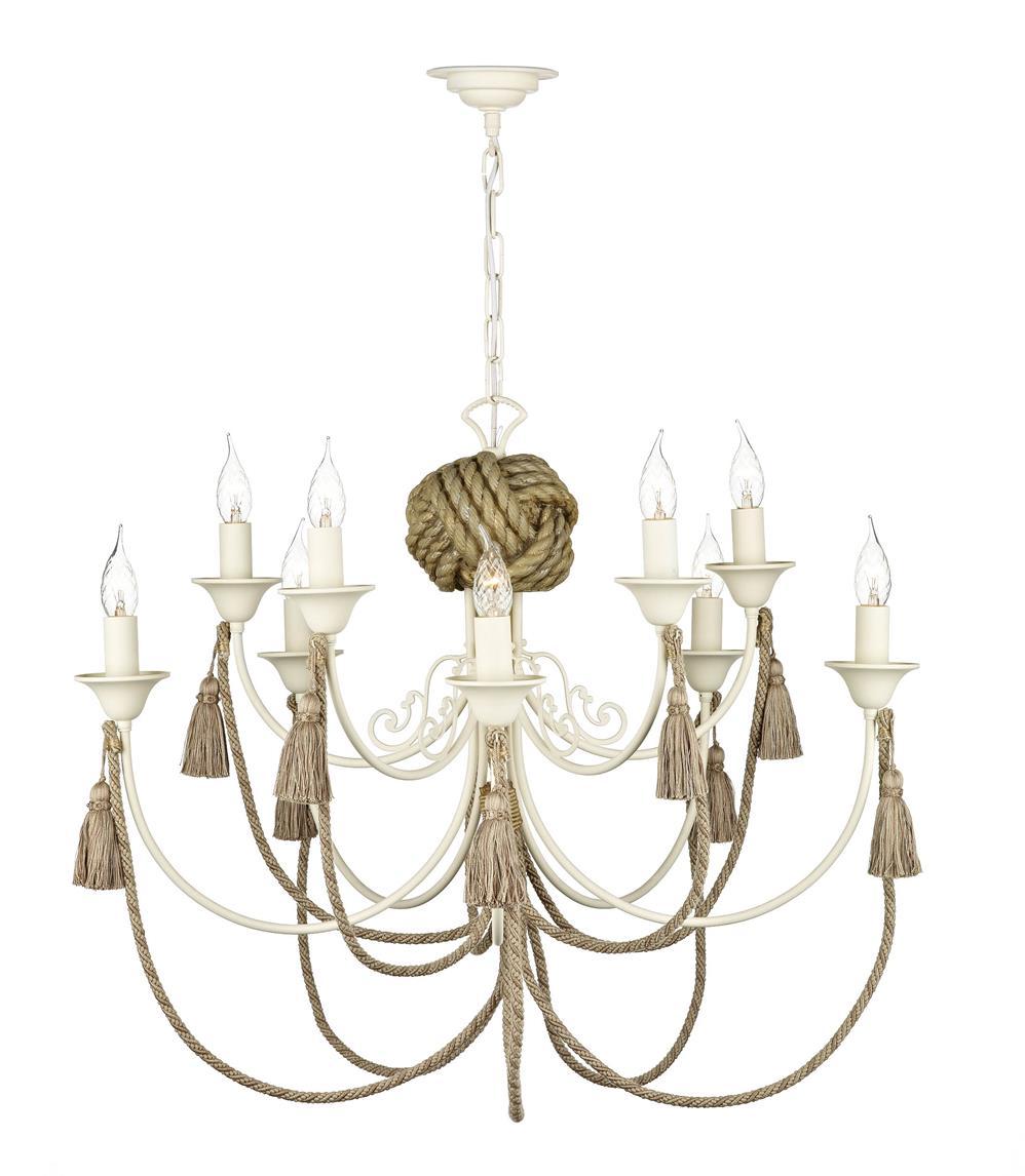 Dar DAR2333 Darwin 10 Light Chandelier in Cream & Rope Detail
