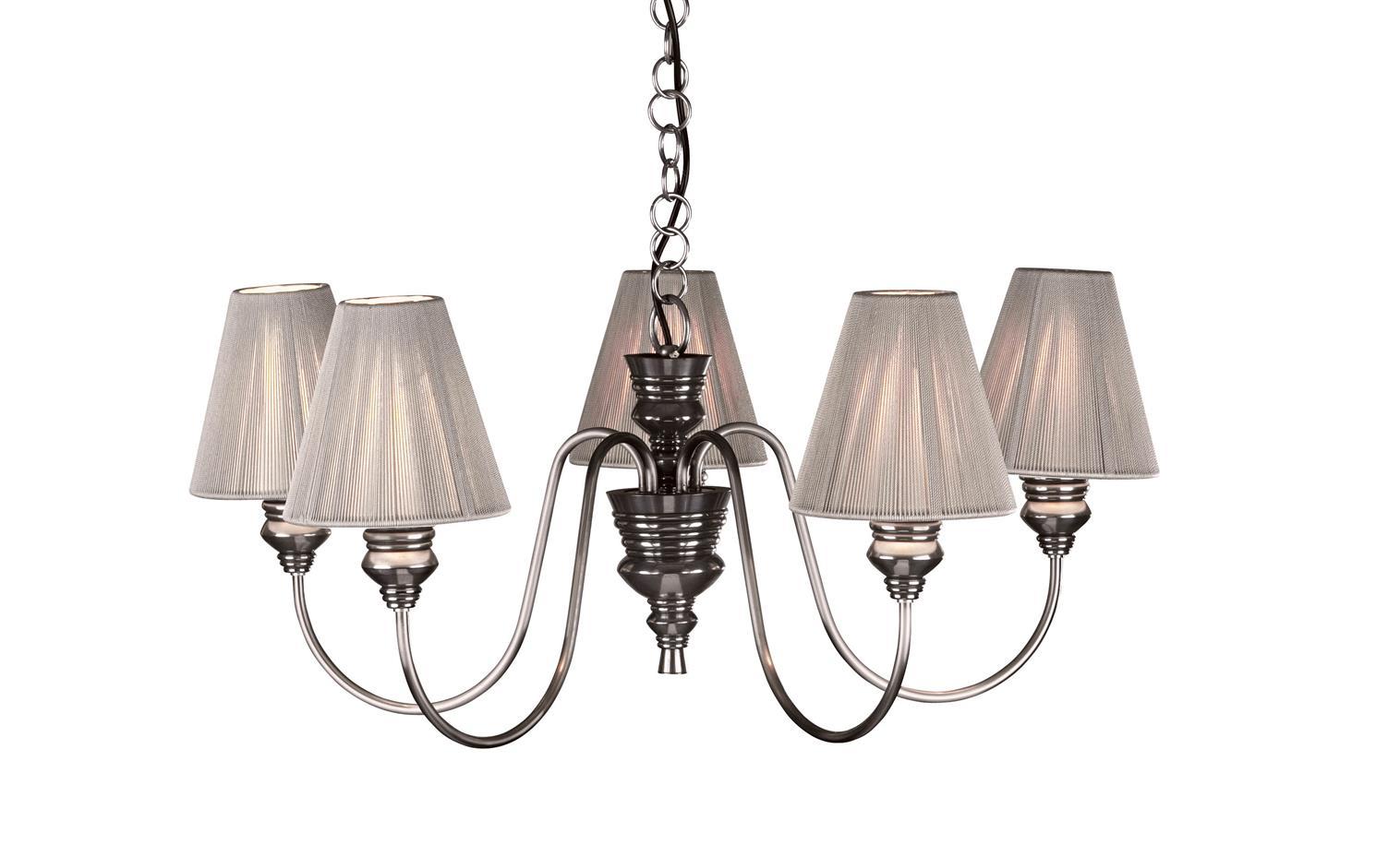 David Hunt Lighting DOR0567 Doreen 5 Light Pendant in Pewter with Silver Shades