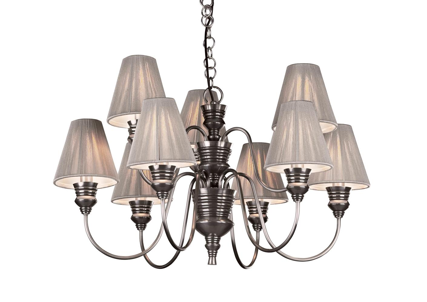 David Hunt Lighting DOR1367 Doreen 9 Light Pendant in Pewter with Silver Shades