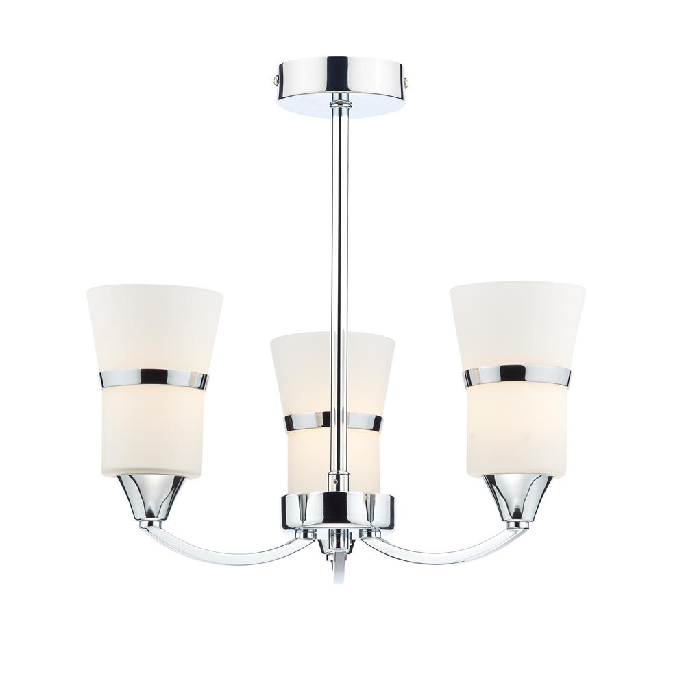 Dar DUB0350/LED Dublin LED 3 Light Semi Flush Fitting in Polished Chrome