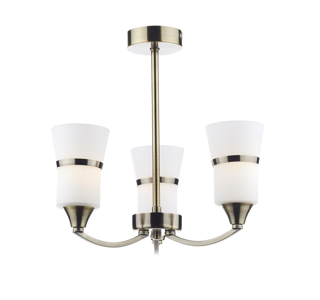 Dar DUB0375/LED Dublin LED 3 Light Semi Flush Fitting in Antique Brass