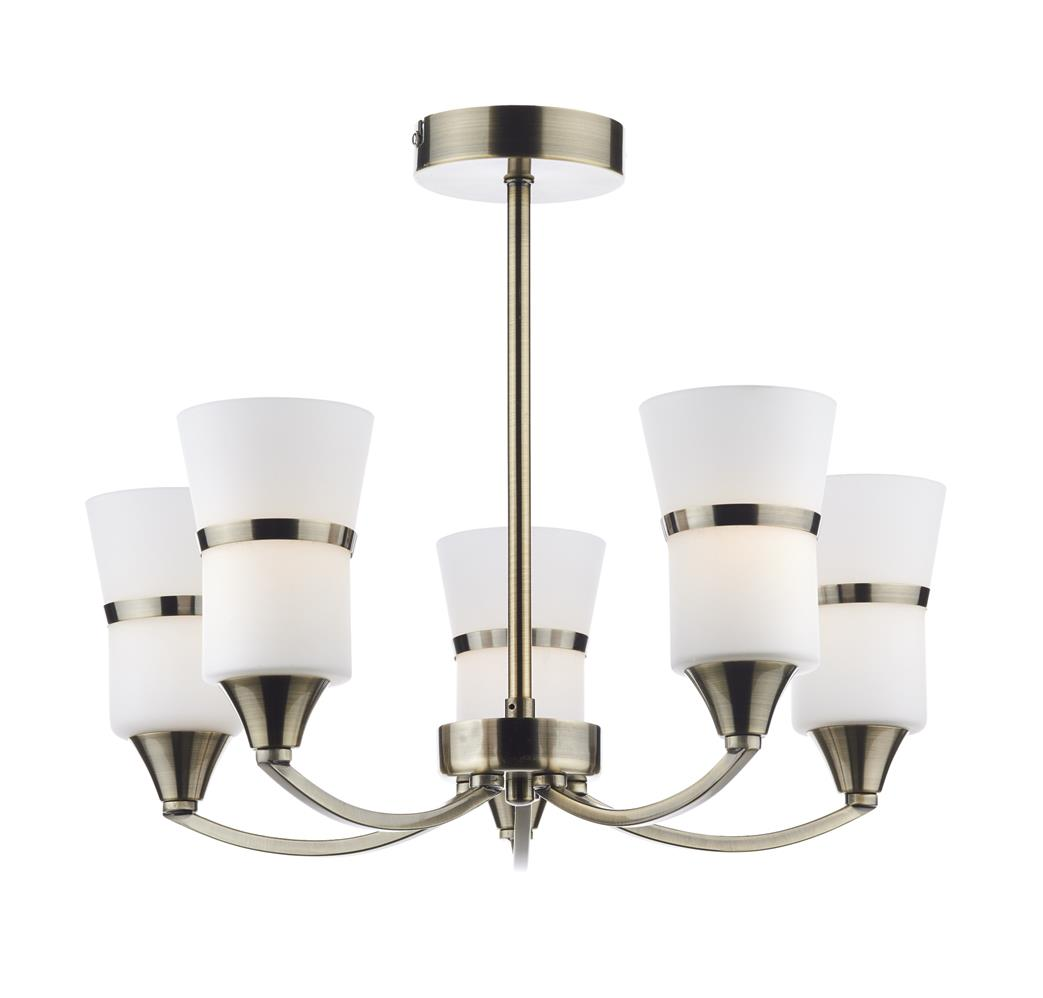 Dar DUB0575/LED  Dublin LED 5 Light Semi Flush Fitting in Antique Brass