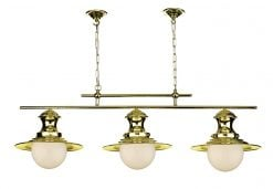 EP0340 Station 3 Light Bar Pendant in Polished Brass