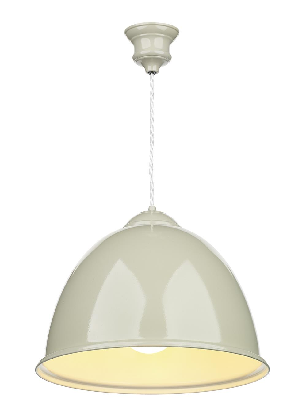 David Hunt Lighting EUS012 Euston 1 Light Pendant in French Cream with White Inner