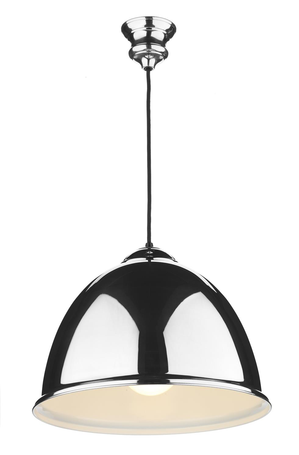 David Hunt Lighting EUS0122 Euston 1 Light Pendant in Polished Chrome with Cream Inner