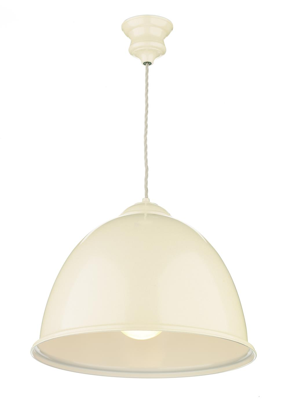 David Hunt Lighting EUS0133 Euston 1 Light Pendant in Gloss Cream with White Inner