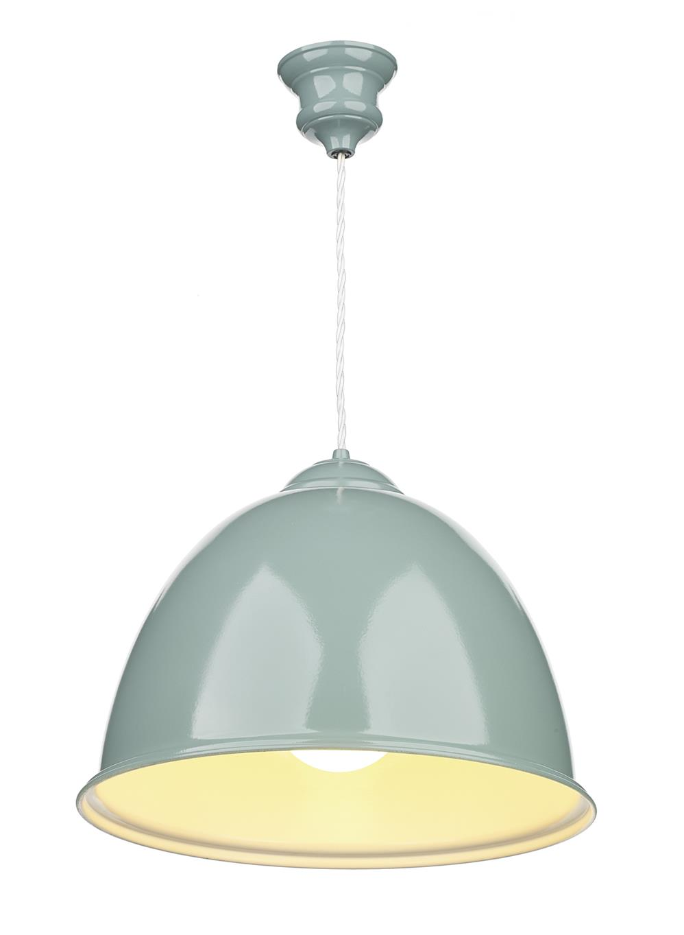 David Hunt Lighting EUS0173 Euston 1 Light Pendant in Blue Verditer Semi Gloss with White Inner