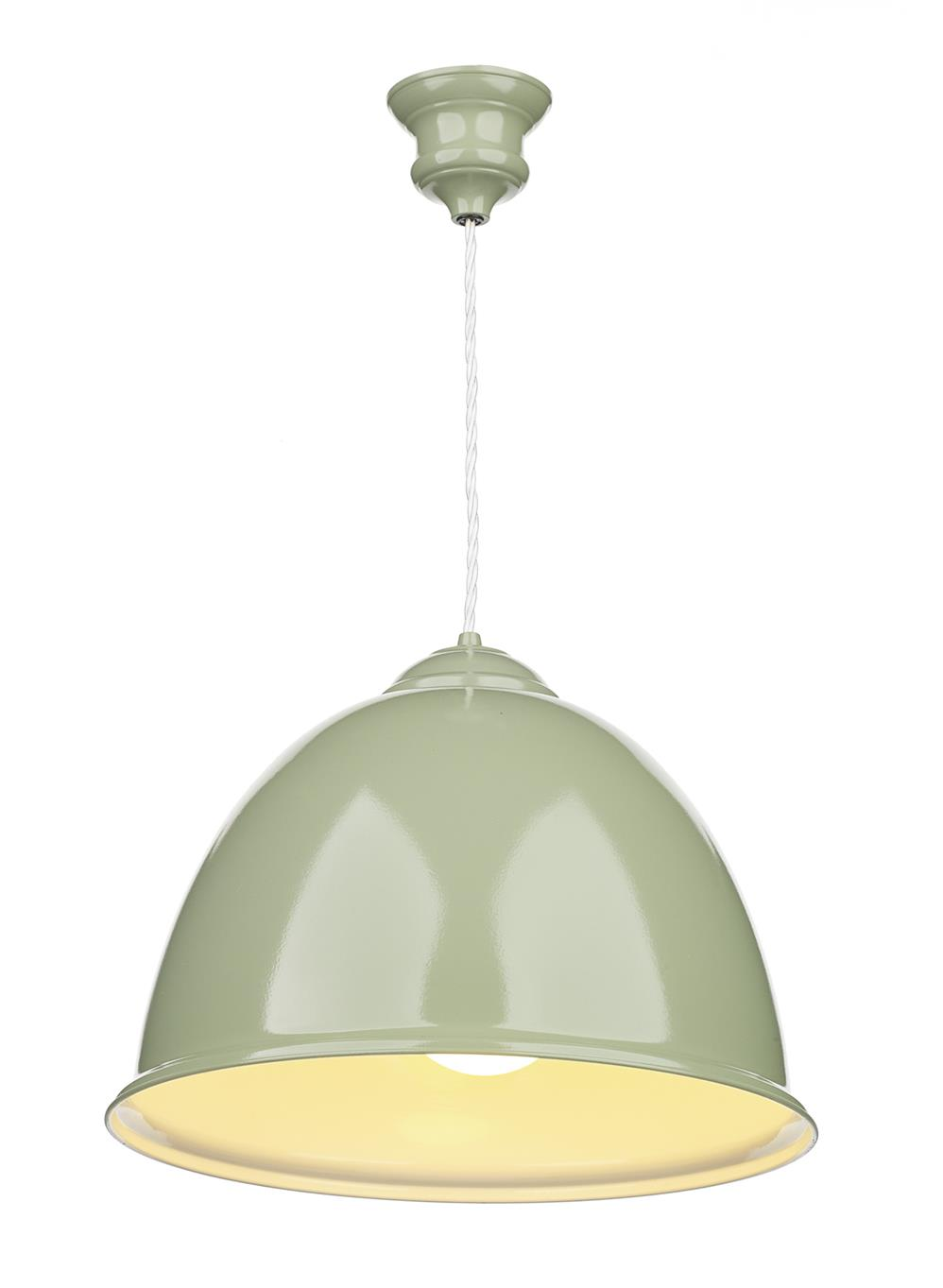 David Hunt Lighting EUS0174 Euston 1 Light Pendant in Olive Green Semi Gloss with White Inner