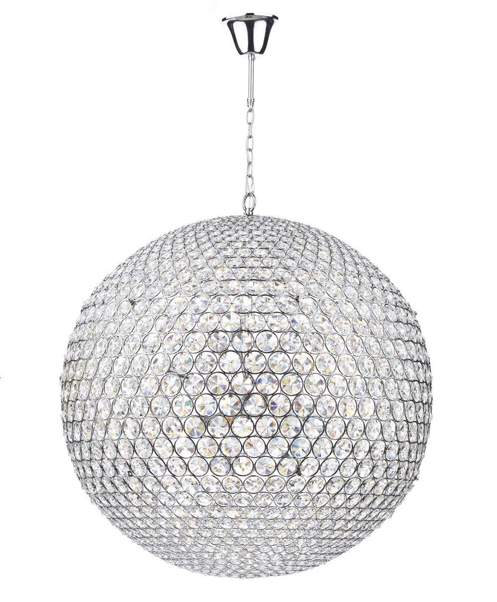 Dar FIE1250 Fiesta 12 Light 90cm Ball Pendant in Polished Chrome