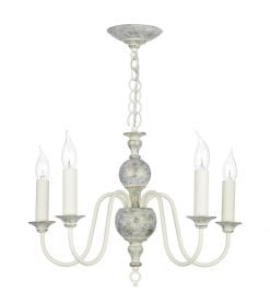 FLE0512 Flemish 5 Light Pendant in distressed powder grey/cream &  gold (Fitting Only)