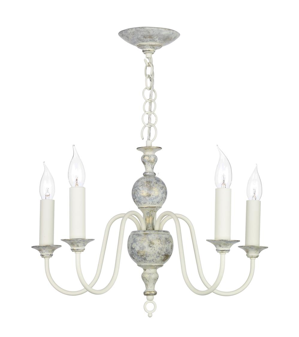 David Hunt Lighting FLE0512 Flemish 5 Light Pendant in distressed powder grey/cream &  gold (Fitting Only)