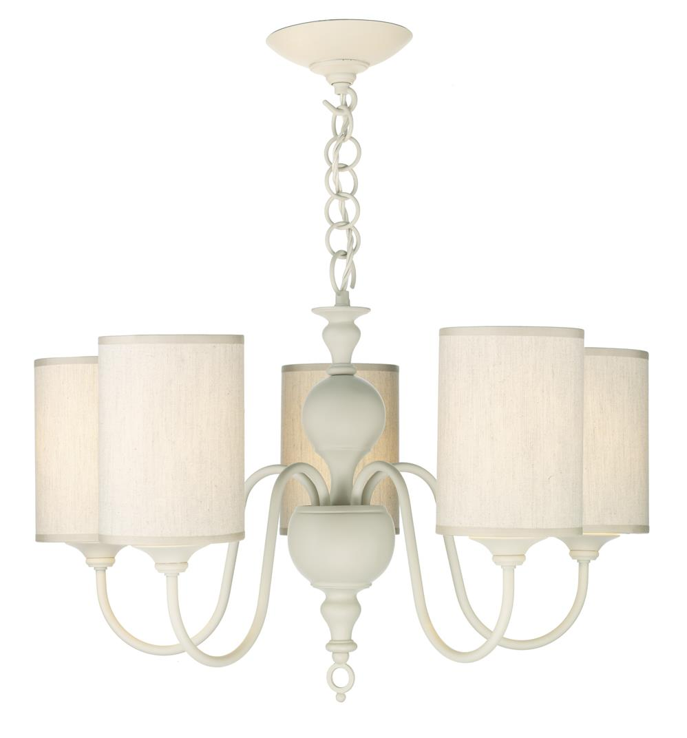 David Hunt Lighting FLE0533 Flemish 5 Light Pendant in cream complete with cream fabric shades
