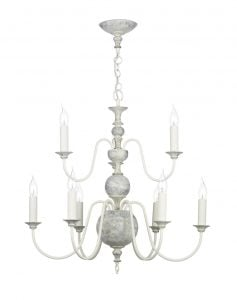 FLE1312 Flemish 9 Light Pendant in distressed powder grey/cream &  gold (Fitting Only)