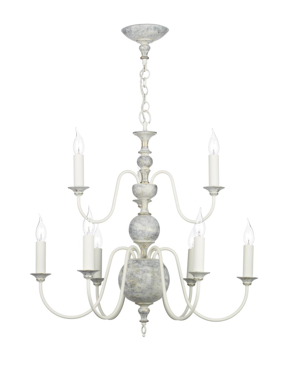 David Hunt Lighting FLE1312 Flemish 9 Light Pendant in distressed powder grey/cream &  gold (Fitting Only)
