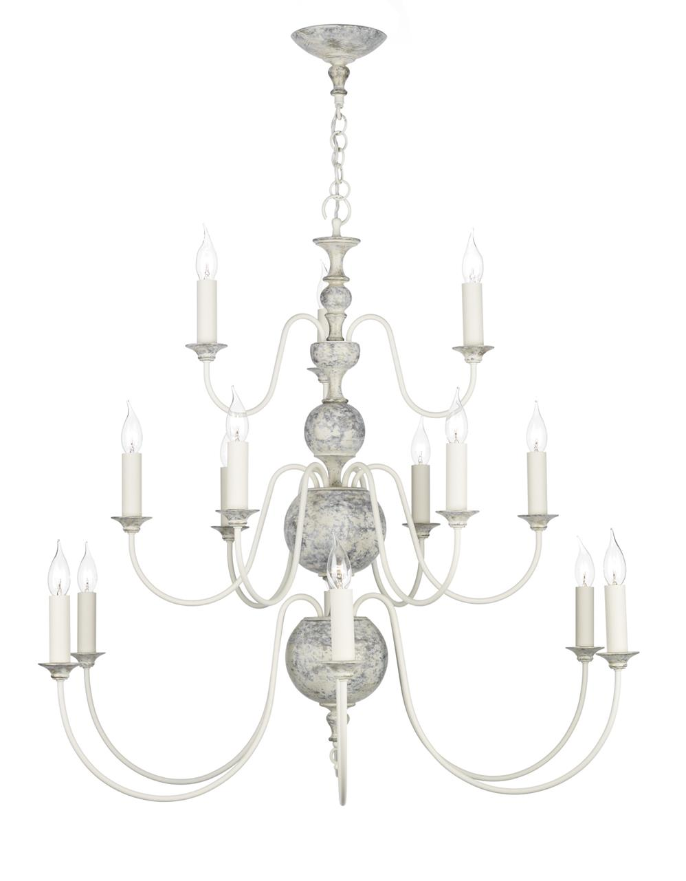 David Hunt Lighting FLE1512 Flemish 15 Light Pendant in distressed powder grey/cream &  gold (Fitting Only)