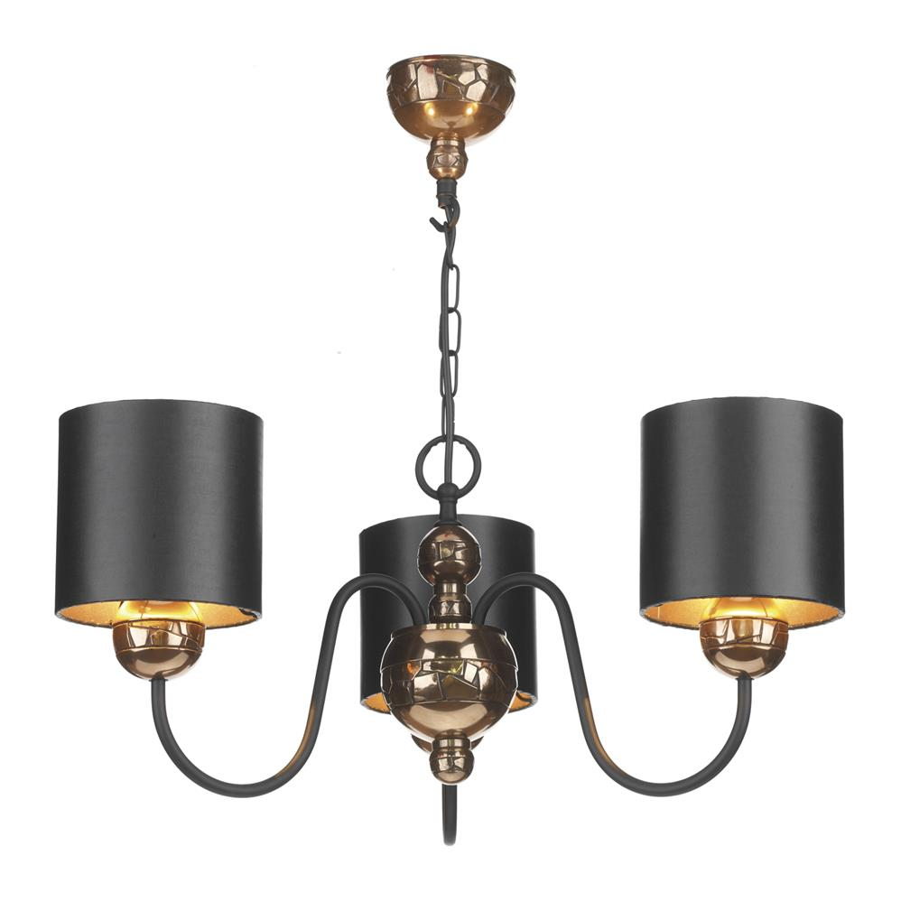 David Hunt Lighting GAR0315 Garbo 3 Light Pendant in Bronze Complete with Cream Shades