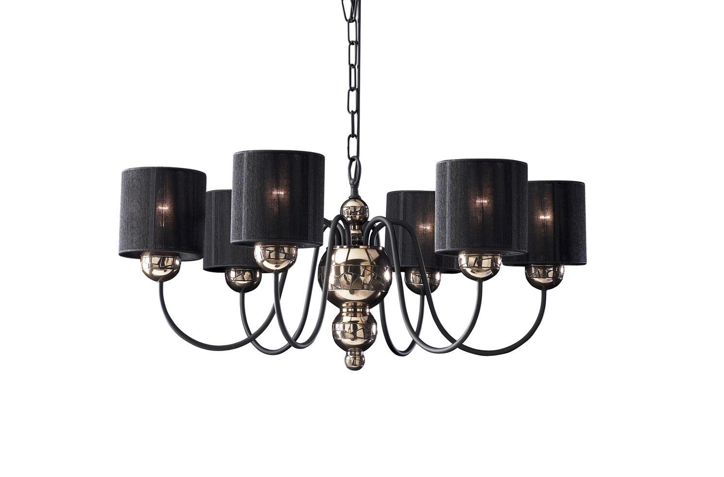 David Hunt Lighting GAR0663 Garbo 6 Light Pendant in Bronze Complete with Black String Shades